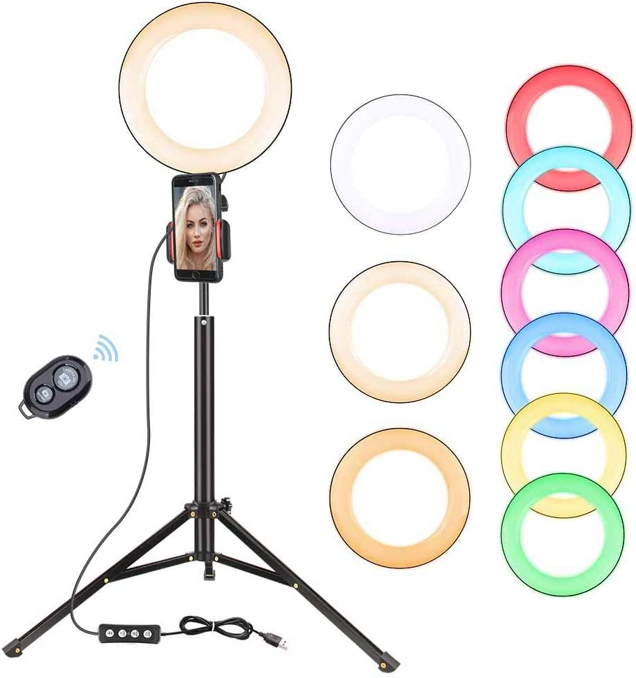 "Zomei 8"" Selfie Ring Light with 53inch Stand Tripod for iPhone, iPad, Android Smartphone, RGB Ringlight Circle Light for Photography, Video, Live Streaming, YouTube"