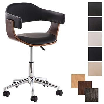 CLP Silla de Oficina Moderna Brügge de Cuero PU I Silla de Escritorio con  Ruedas I Taburete de Oficina con Ruedas I Color: Negro, Nogal