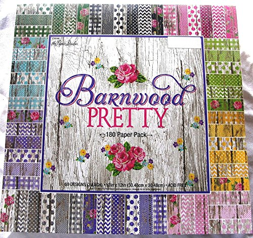 Barnwood Pretty 12x12 Scrapbooking Paper Pack 180 Sheets Chevron, Dots, Roses, Gingham, Country, Shabby, Farm Vintage, Old Wood ()