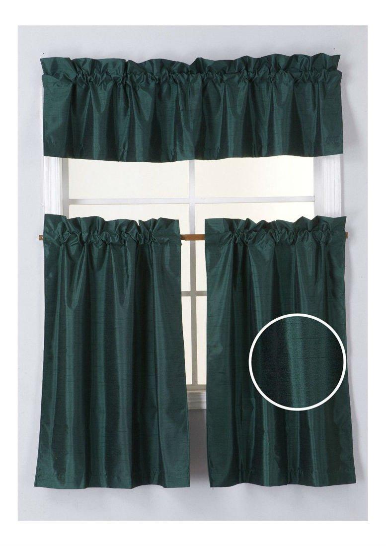 3PC HUNTER GREEN SET WINDOW DRESSING KITCHEN CURTAIN SOLID LINED BLACKOUT DRAPE TREATMENT K3