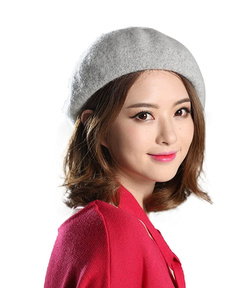 Urban CoCo Womens Solid French Style Beret Wool Blend Beanie Hat