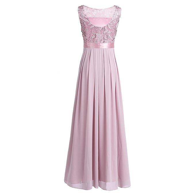 Tiaobug Elegant Chiffon Damen Kleider Lange Brautjungfer ...