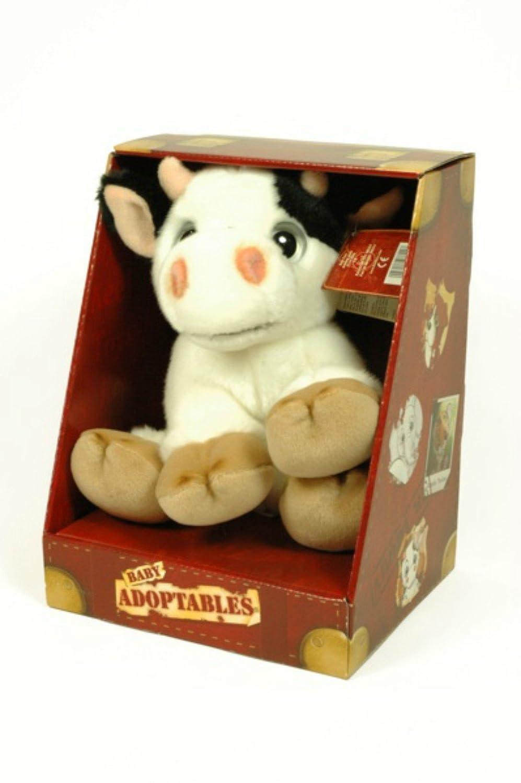 CAPRILO Peluche Decorativo Infantil Vaca Adoptable en Caja. Juguetes Infantiles. Muñecos para Bebés. Regalos y Juguetes Baratos. 21 x 18 x 28 cm.