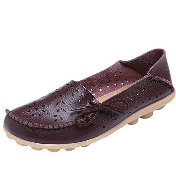 HhGold Mocasines de Cuero de Confort para el Trabajo para Mujer Mocasines Planos Zapatillas (Color : Style 2-Coffee, tamaño : 1 UK): Amazon.es: Hogar