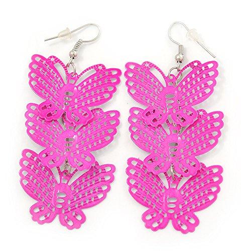 Boucles d'oreilles pendants triple papillon filigrane légère rose néon en ton argent