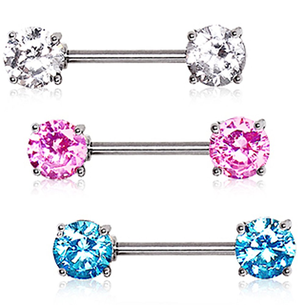 316L Surgical Steel Prong Set Round CZ Nipple Bar 14GA L:9//16 B:7mm Sold as a Pair