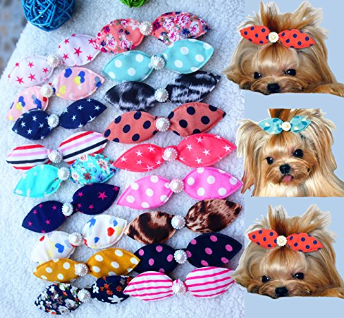Wholesale 50pcs Dog Hair Clips Mix Patterns Bowknot Pearls Centre Pet Dog Grooming Bows Supplies 11CM Pet Hair Clips Teddy Exquisite Rabbit Ears Dog Hair Accessories Free Shipping (Wholesale Dog)