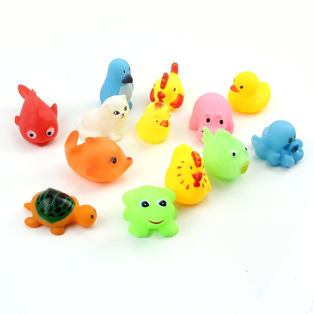 13pcs//set Animals Kids Toys Soft Rubbers Float Sqeezes Sound Baby Wash Bath Play