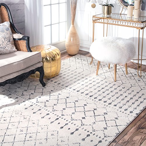 Transitional Vintage Moroccan Trellis Grey Area Rugs, 9 Feet