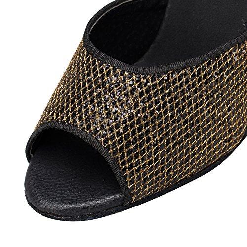 Señoras Zapatos De Baile Latino De Malla De Oro Capilla Lomba Moda Zapatos De Baile El color de la imagen de 8cm.