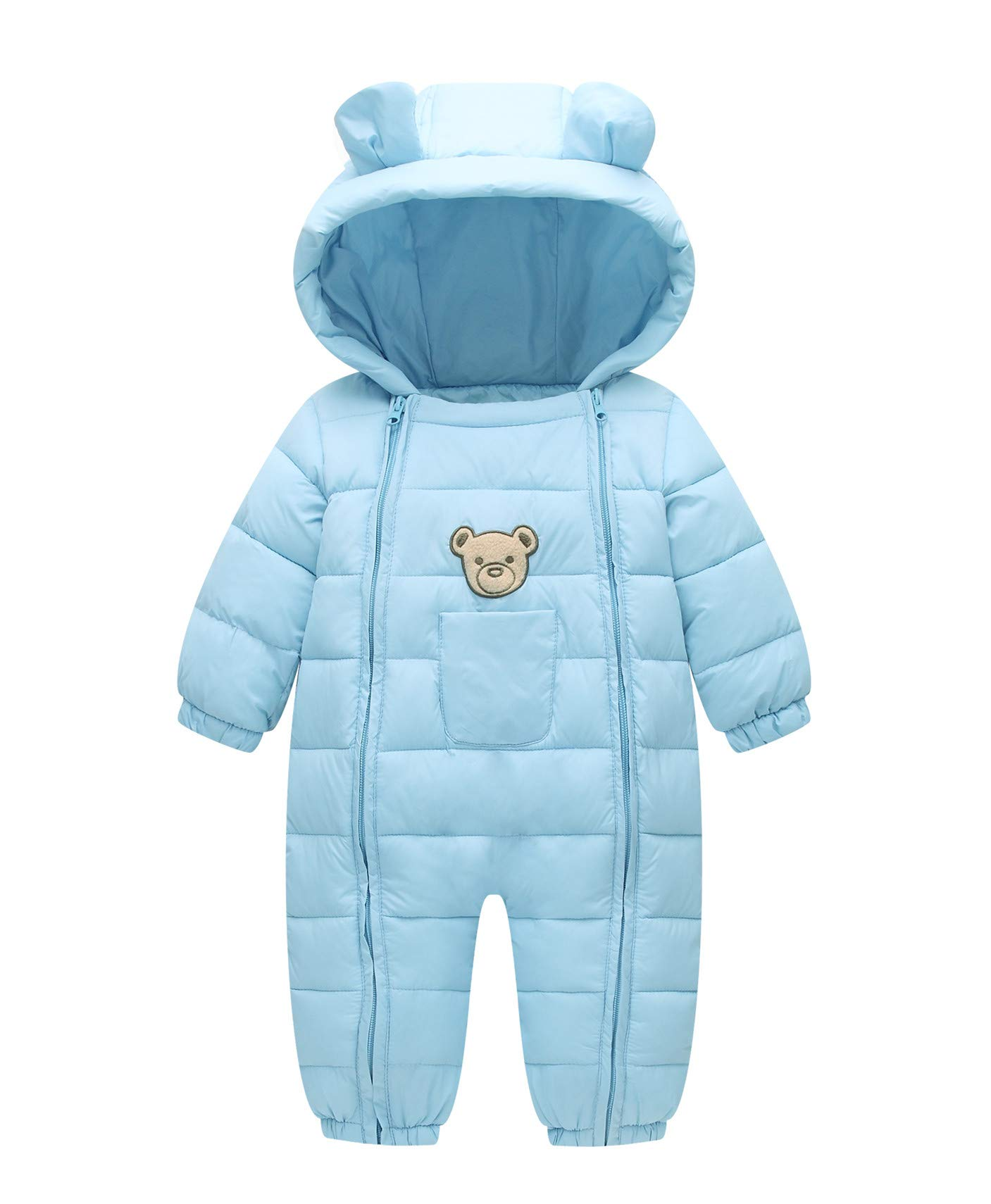 Xuvozta Infant Baby Girl Snowsuit Thermal Winter Romper Outwear Toddler Cute Bear Cotton Coat Blue 80 by Xuvozta