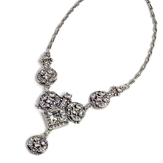 Vintage Style Jewelry, Retro Jewelry Sweet Romance 1920s Art Deco Crystal Bridal Necklace $72.00 AT vintagedancer.com