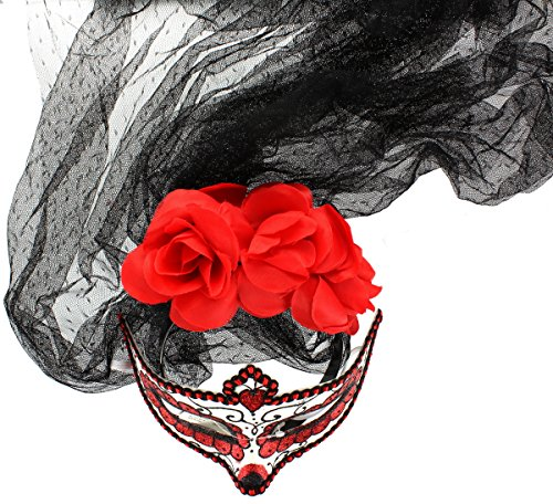 Day Of The Dead Deluxe Mask & Veil (Day Of Dead Mask)