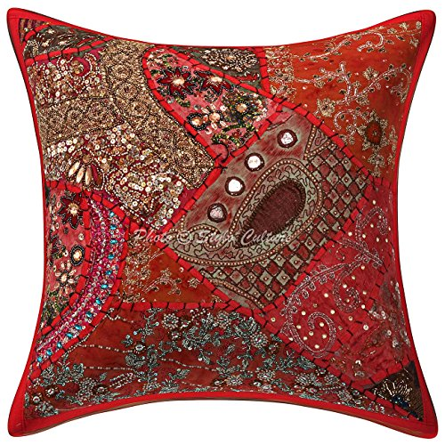 - Stylo Culture Beaded Patchwork Sequins Embroidered Indian Cotton Throw 16x16 Pillow Cover Abstract Decorative Cushion Cover 16 x 16 for Living Room