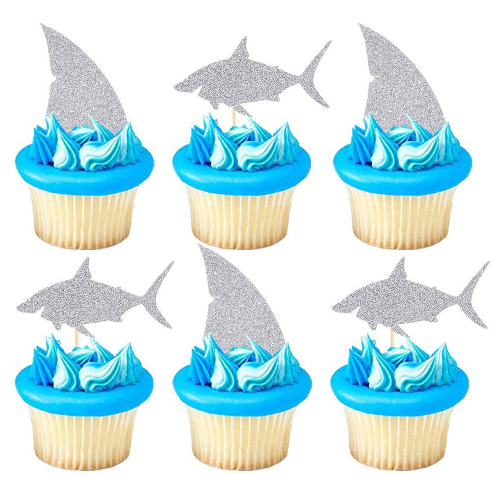 Shark Cupcake Toppers, Silver Glitter Shark Fin Cake Toppers, Ocean Animals Theme Cake Decor, Shark Family Baby Shower Birthday Party Cake Decorations (Set of 24)