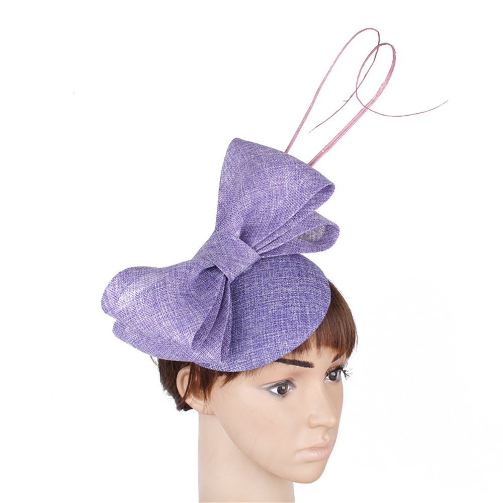 YONQUIL Top Quality Women's Bridal Imitation Sinamay Fascinator Headwear Event Occasion Hat For Kentucky Derby Church Wedding Party Race SYF127 (Lavender)