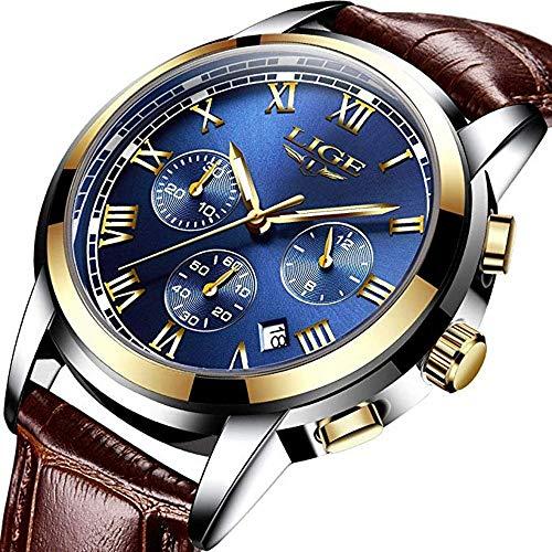 Mens Watches Leather Analog Quartz Watch Men Date Business Dress Wristwatch Men's Waterproof Sport