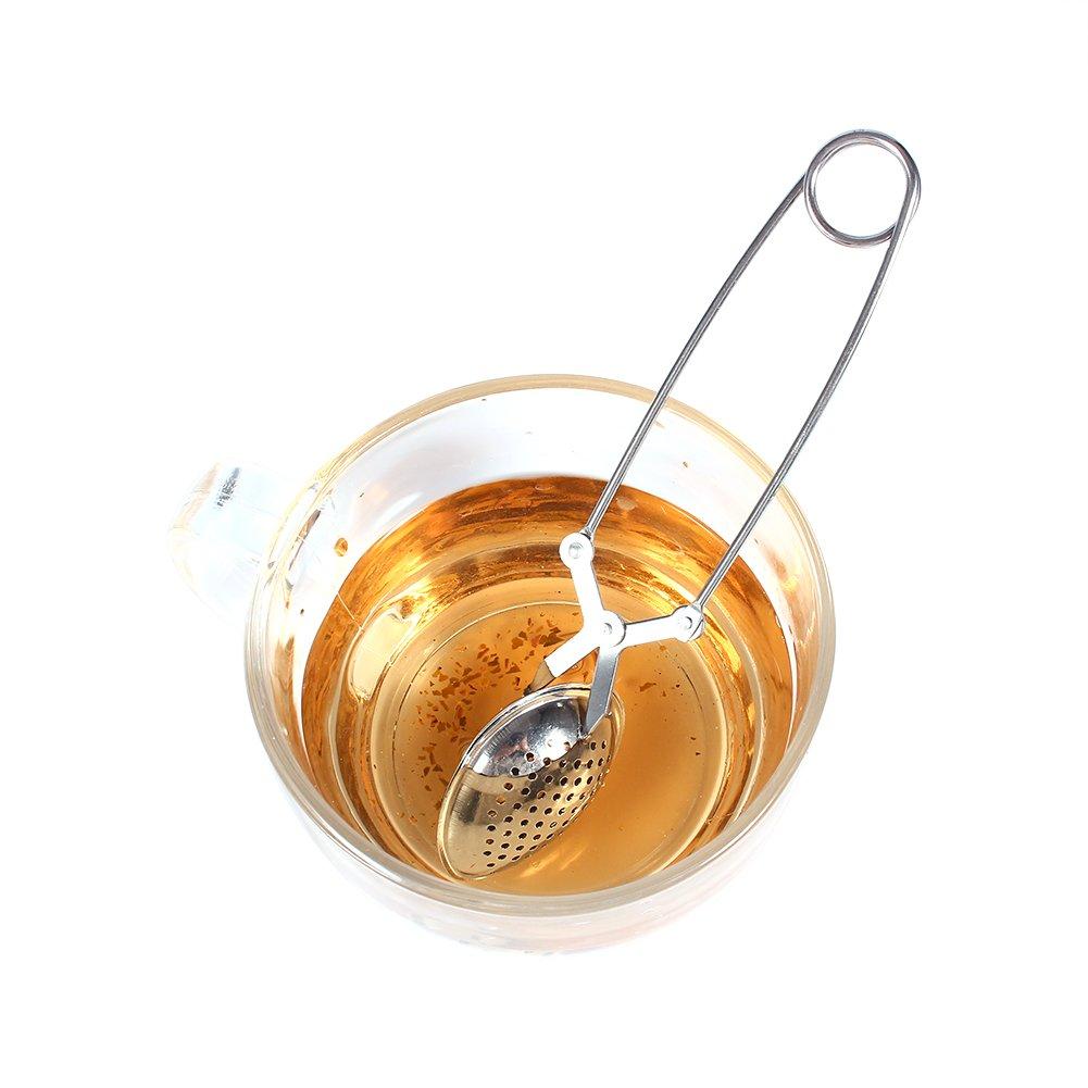 Especias Filtro de Hojas de Acero Inoxidable difusor para Hierbas Filtro de Bola de t/é de Mango Largo para Cocina Sala de Estar Aufee Infusor de t/é Suelto casa de t/é Gotas de Agua Oficina