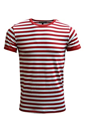 Mens 60's Retro Red & White Striped Short Sleeve T Shirt | Amazon.com