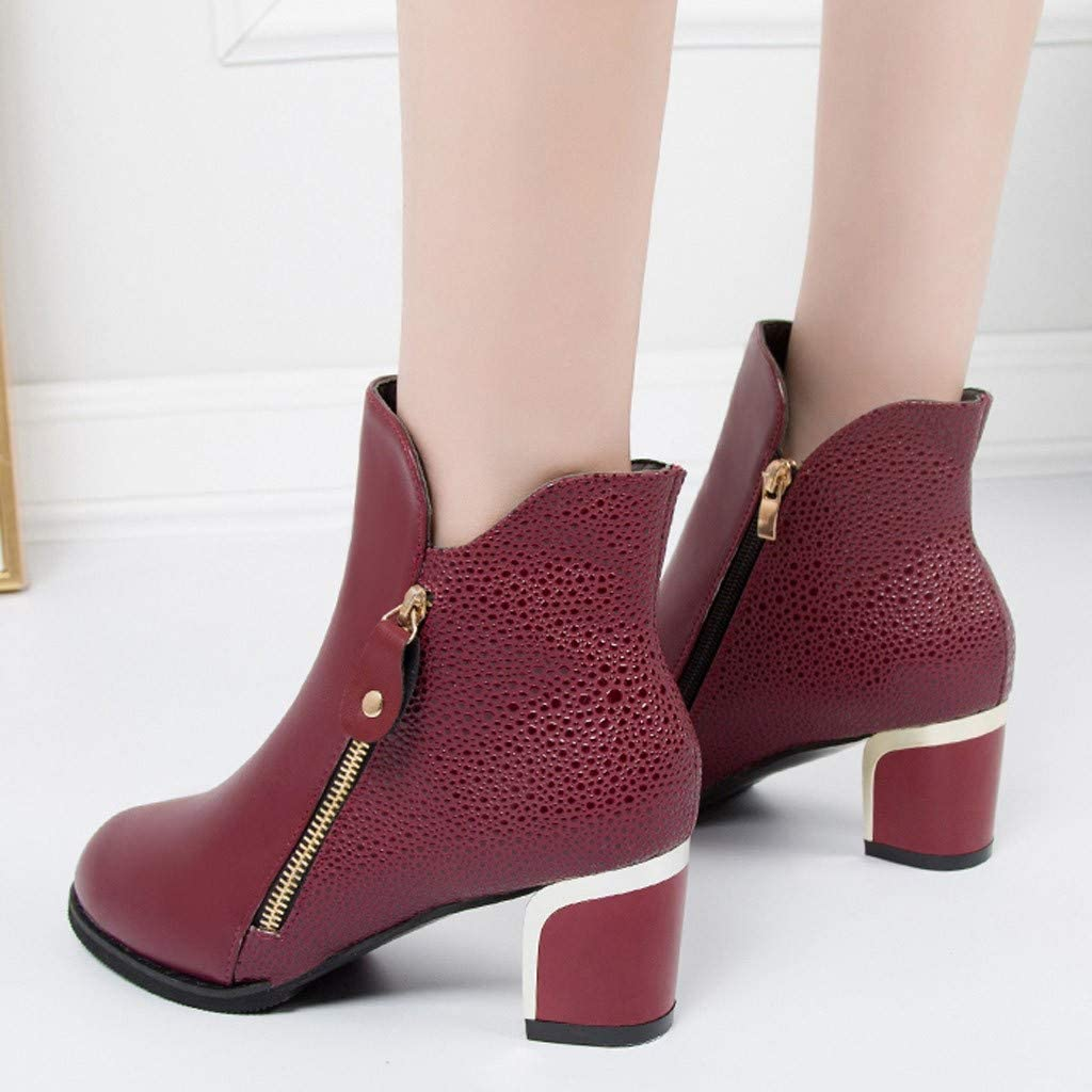 Whitegeese Fashion Women Ankle Boot Thick High Heel Pumps England Round Boots Student Shoes