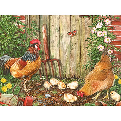 Bits and Pieces - 500 Piece Jigsaw Puzzle for Adults - Garden Family - 500 pc Farm Chickens Jigsaw by Artist Tracy Hall