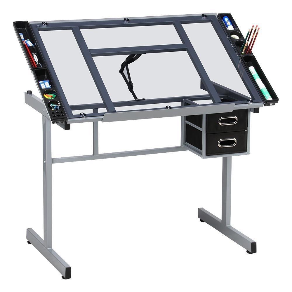 go2buy Adjustable Drawing Desk Rolling Drafting Table Art Tempered Glass Desk