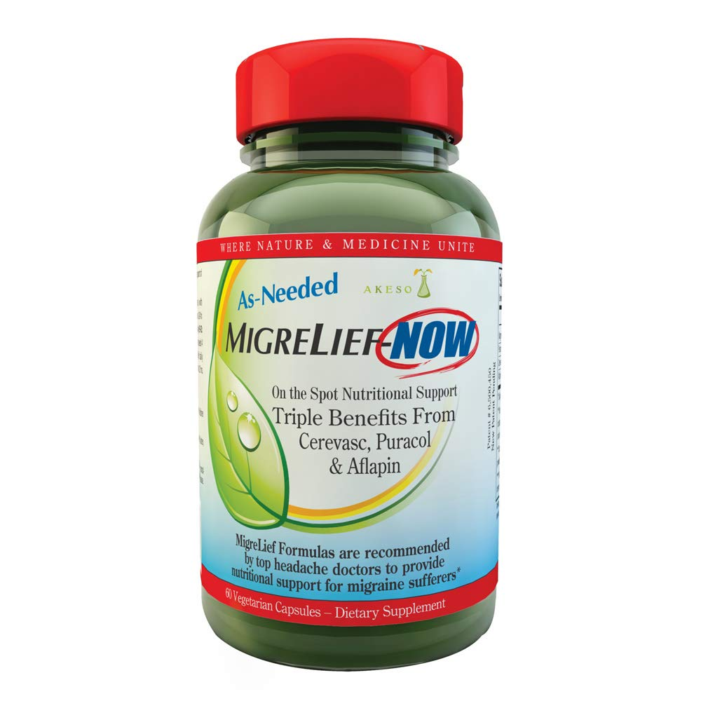 MigreLief-Now - Fast Acting Formula, As Needed Nutritional Support for Migraine and Headache Sufferers - 60 Vegetarian Capsules by MigreLief