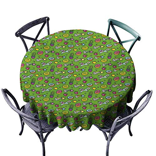 Waterproof Tablecloth Cactus Unicorns with Plants and Food Donuts Strawberries Heart Shooting Stars Cartoon Style Multicolor Party -