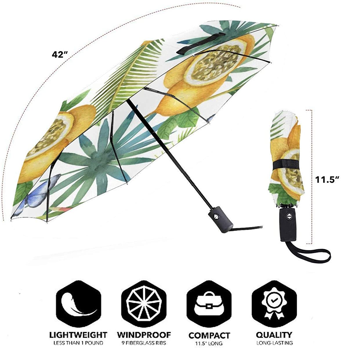 Watercolor Seamless Pattern Of Passion Compact Travel Umbrella Windproof Reinforced Canopy 8 Ribs Umbrella Auto Open And Close Button Personalized
