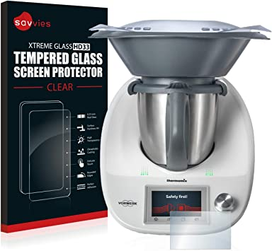 Film Tremp/é de Verre savvies Verre Tremp/é Compatible avec Vorwerk Thermomix TM5 2 Pi/èces Duret/é 9H Vitre Protection Ecran