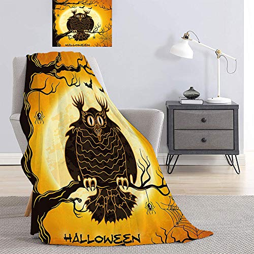 SATVSHOP Fleece blanket-70 x50-Super Soft Luxurious Cozy Warm Fluffy Plush Hypoallergenic.Spooky Owl on Tree Branch Surrounded by Spider Webs and Bats Fear Themed Orange Black.