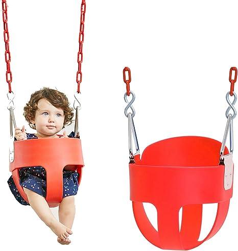 ROCK1ON Columpio Infantil Columpio de Jardín para Niños con Asiento de Respaldo Alto de Seguridad con Recubierta Cadena de Metal 1.5M para Exterior para Bebé: Amazon.es: Deportes y aire libre