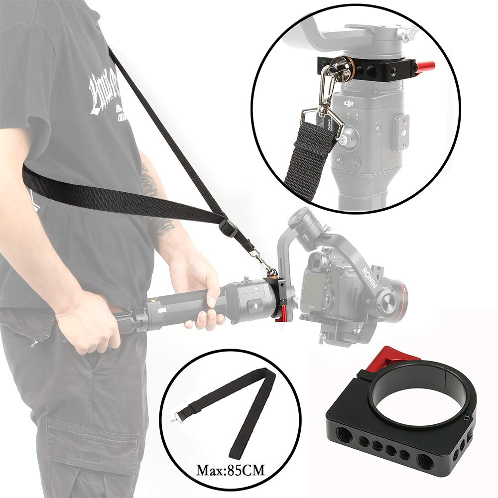 Ronin-S Shoulder Strap Clamp Ring Adapter for Flash Rode Video Microphone and LED Light Accessory Filmmaker Vlog Via 1/4'' and 3/8'' Screw by Sutefoto (Image #1)