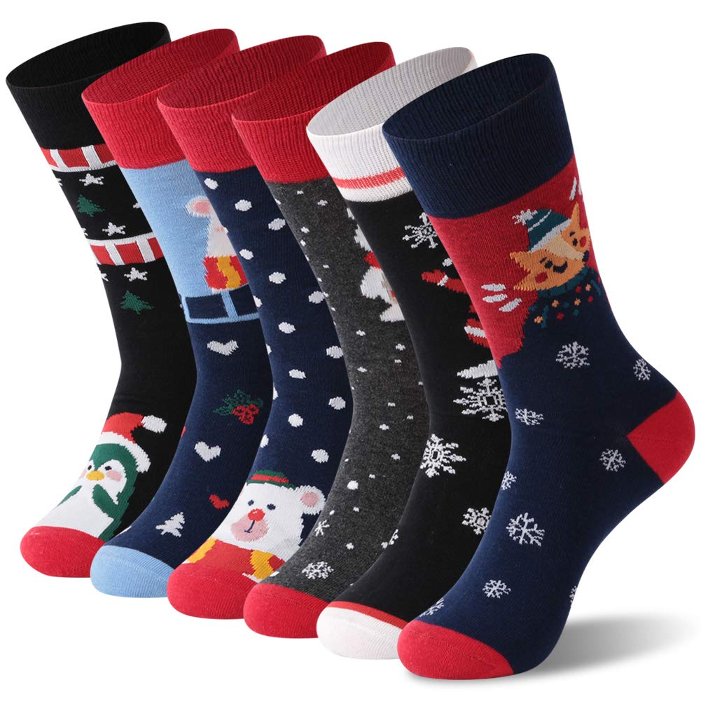 Christmas Crew Socks, Facool Womens Mens Cute Novelty Dress Socks 3/6 Pairs Facool 3 Pairs Soft Womens Mens Christmas Crew Socks Funny Casual Socks