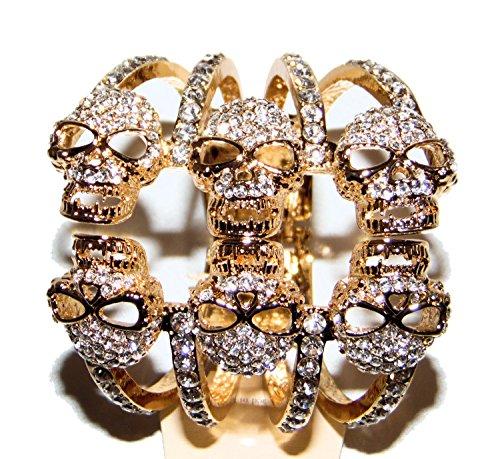 6 Skull Bracelet with Rhinestones