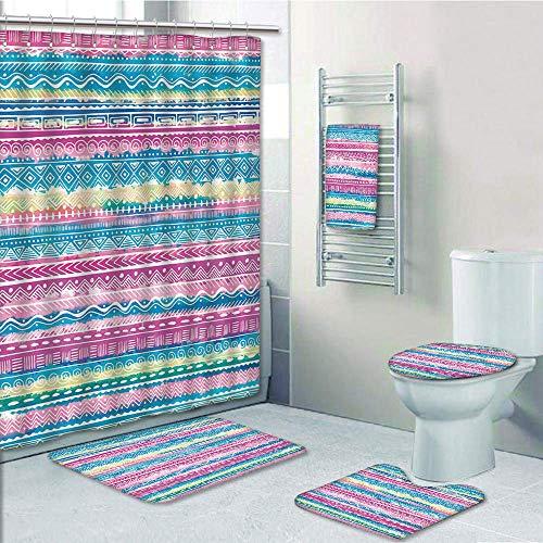 (Bathroom 5 Piece Set shower curtain 3d print Customized,Tribal Decor,Watercolor Tie Dye Effect Art Stripes Aquatic Theme Bohemian Aztec Print,Blue Pink Cream,Bath Mat,Bathroom Carpet Rug,Non-Slip,Bath)