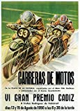 Motorcycle Racing - Vintage Advertisement (36x54 Giclee Gallery Print, Wall Decor Travel Poster)