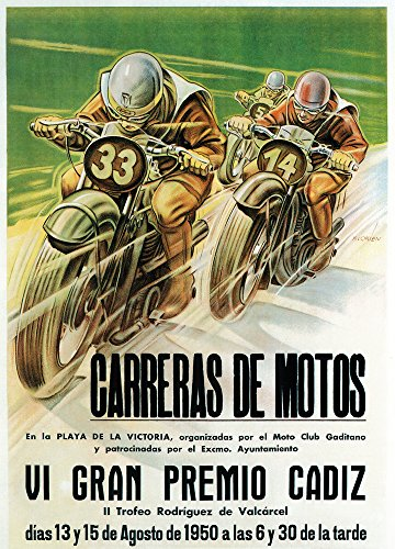 - Motorcycle Racing - Vintage Advertisement (36x54 Giclee Gallery Print, Wall Decor Travel Poster)