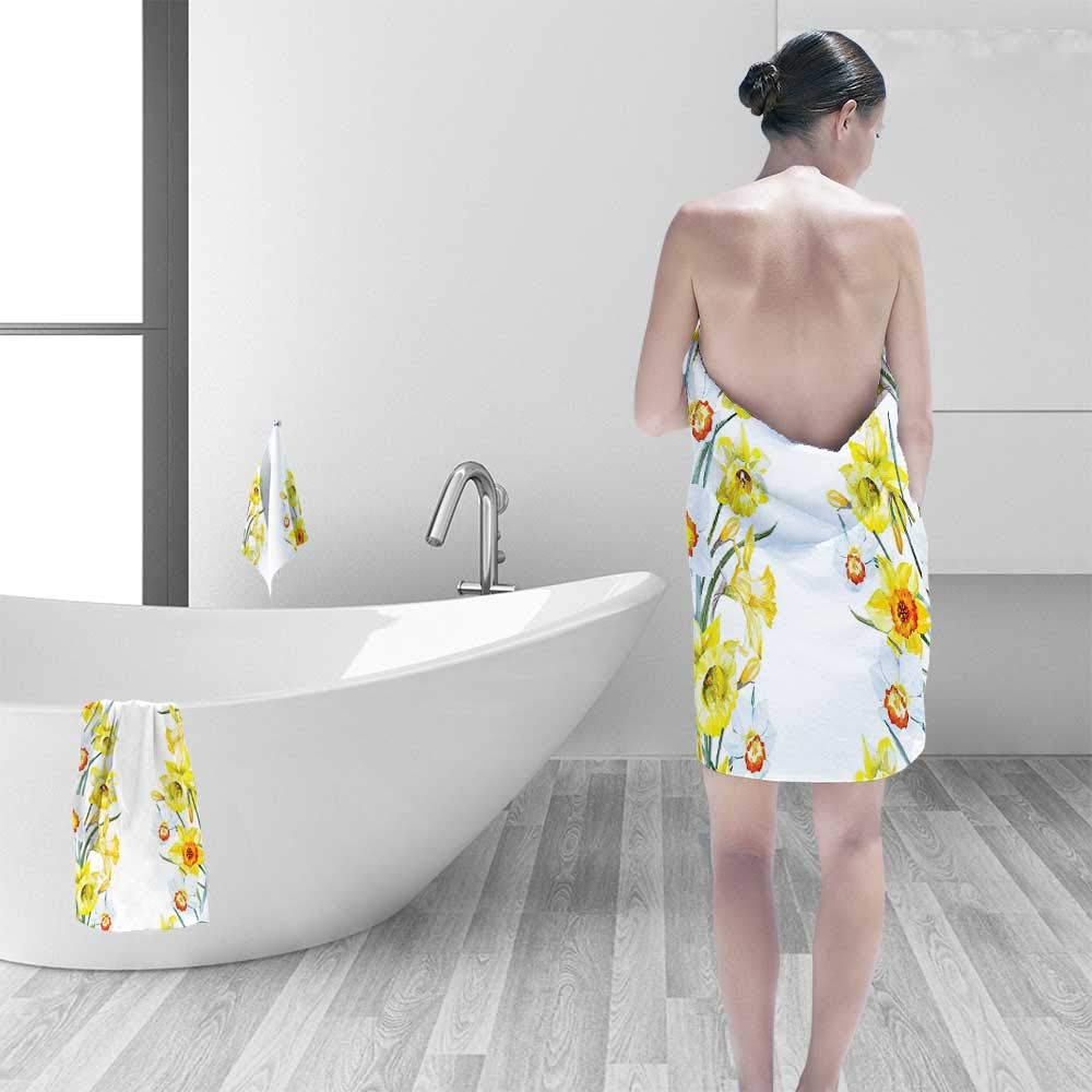 Quick Dry Bath towelSpring Flowers Composition Meditation for Blossoming Results Natural Wonder Print Yellow White Red Absorbent Ideal for Everyday use