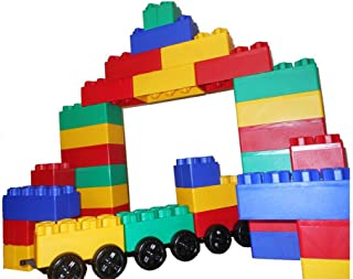 product image for Kids Adventure Jumbo Blocks with Wheels Train Set, 60-Piece (00221-1)