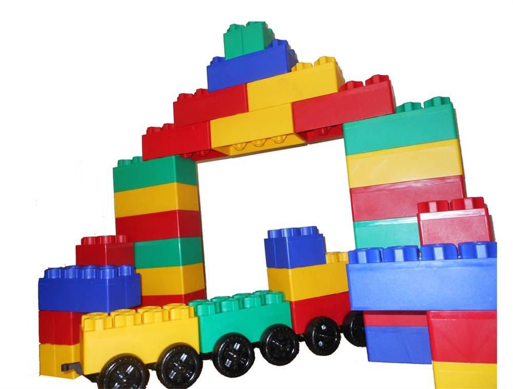 Kids Adventure Jumbo Blocks with Wheels Train Set, 60-Piece (00221-1)