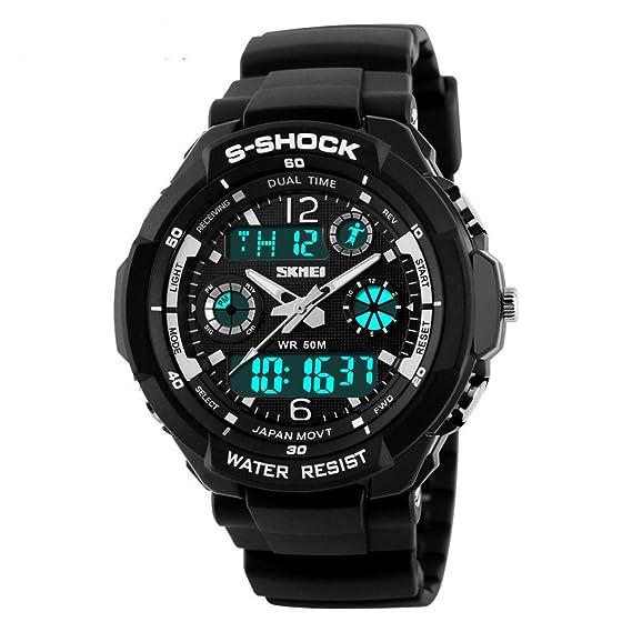 Moda deportes relojes hombres cuarzo Digital reloj Militar multifunción 50 m impermeable doble tiempo LED cara grande luz de fondo Cronómetro Alarma pulsera ...