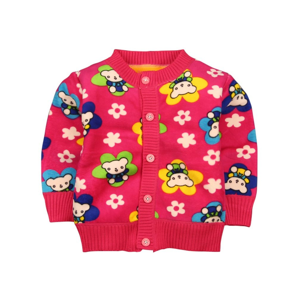 Loveble Warm Baby-Boys Coats Cartoon Pattern Sweaters Toddler Thicken Outerwear With Buttons