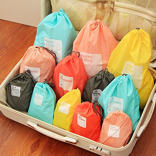BINGONE Nylon 4-in-1 Drawstring Bags//Ditty Bag//Cord Bag Storage Travel Use 4 Size Yellow2