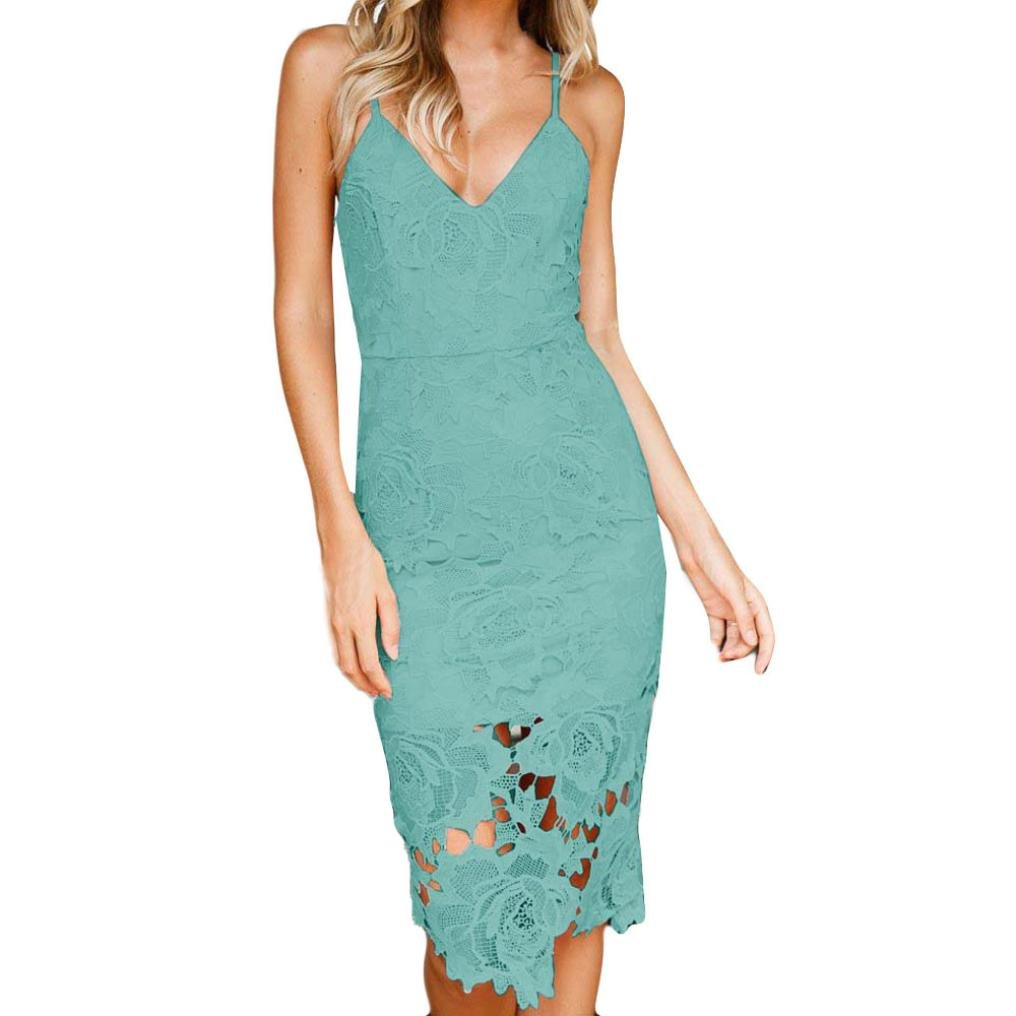 GOTD Womens Sexy Lace Rose Flower Strap V Neck Dress Ladies Bodycon Evening Party Work Casual Beach (S, Green)