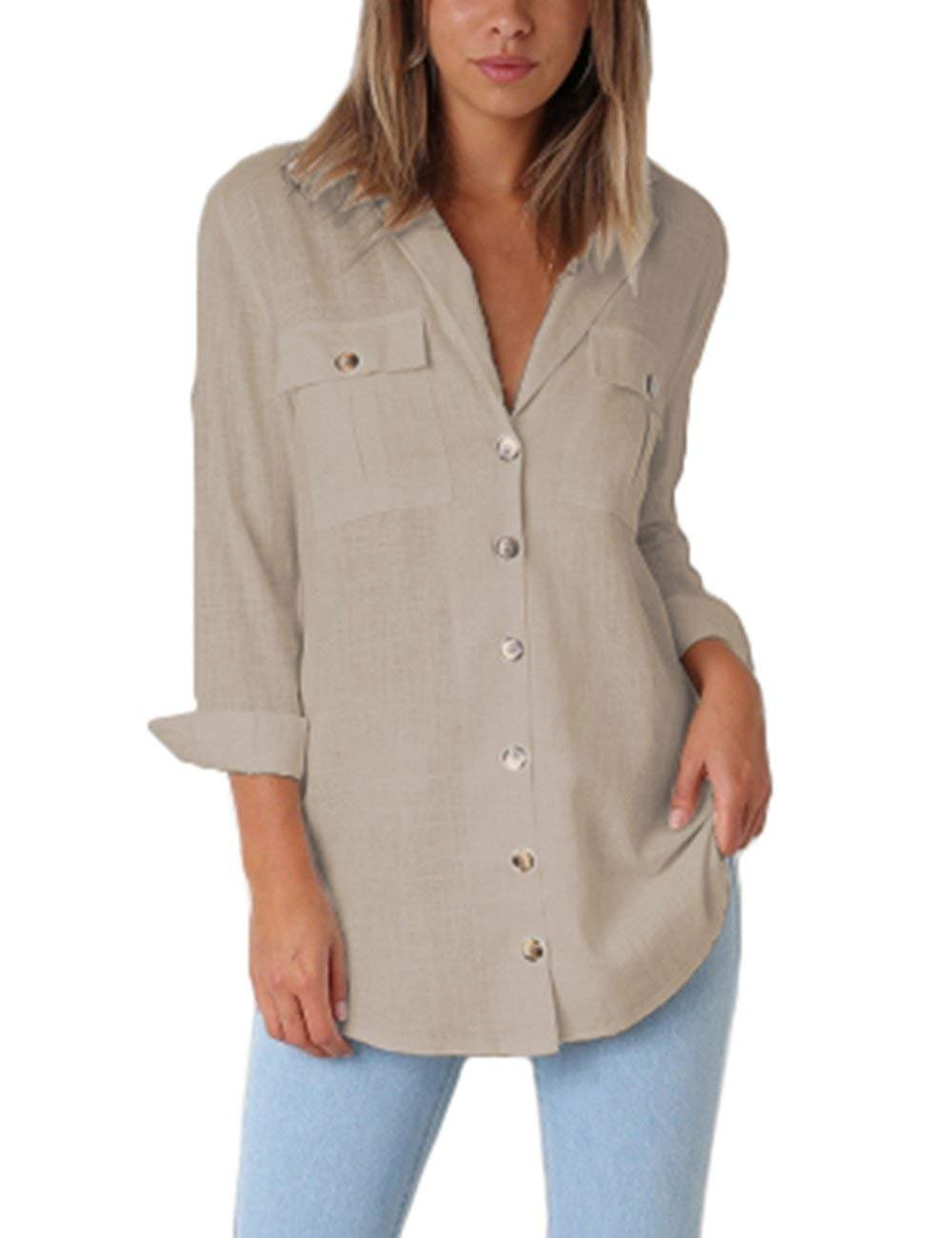 MIDOSOO Womens Button Down V Neck Shirts Loose Fitting Long Sleeve Henley Shirts Tops Two Front Pockets Khaki XL