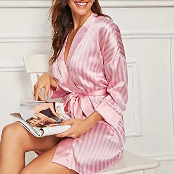 Womens Kimono Silk Robes Satin Robe 3//4 Sleeve V-Neck Nightgown Bride Sleepwear Silk Comfort Pajama