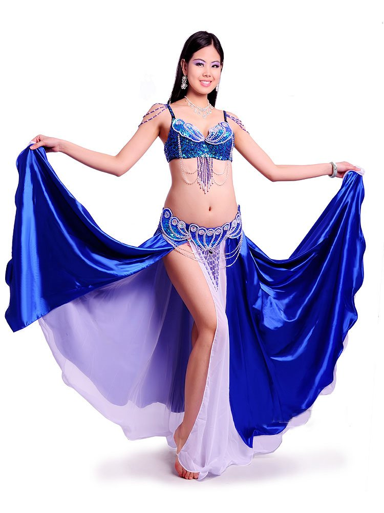 ベリーダンス 衣装 セット ベリーダンス コスチューム ブラトップ 腰ベルト スカートのセット 衣装 コスチューム B075NN95ZR Small ブルー ブルー Small