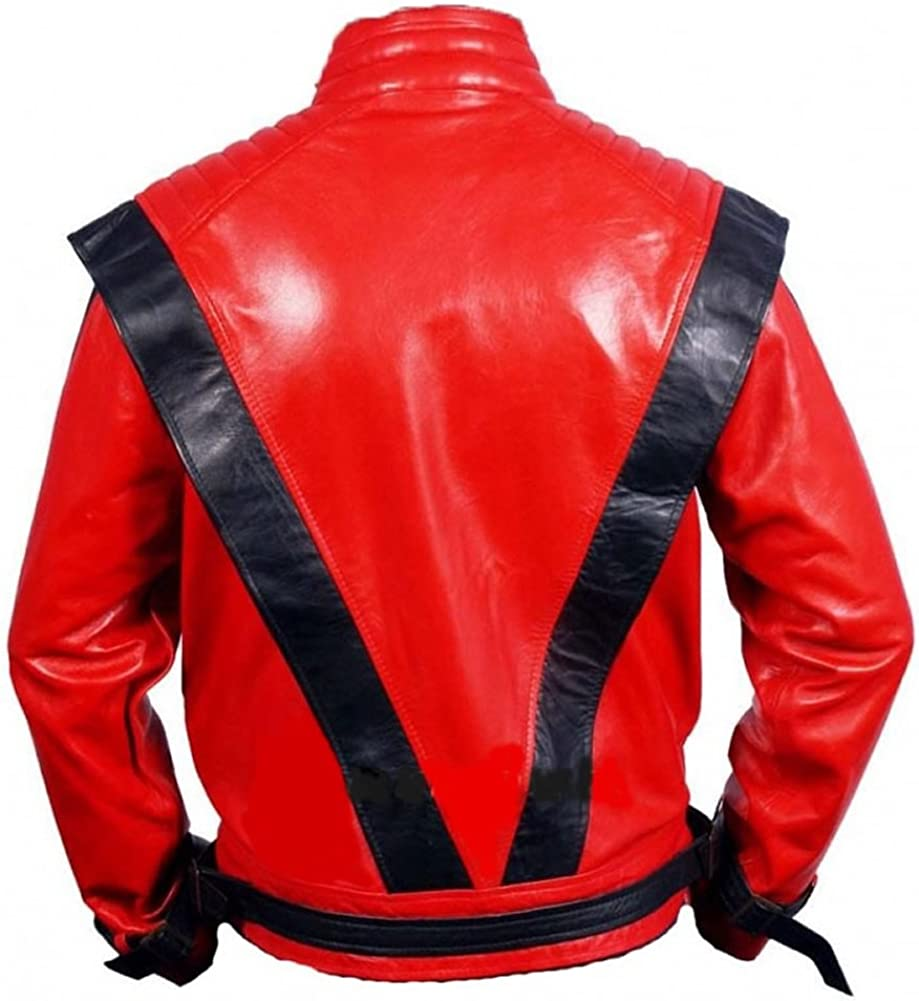 Mens Fashion Mj Thriller Genuine Leather Jacket Red