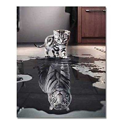 Adult Wooden Puzzle 1000 Pieces The Reflection of The Kitten is A Tiger: Toys & Games